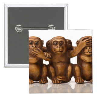 Carving of three wooden monkeys 2 inch square button