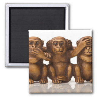 Carving of three wooden monkeys 2 inch square magnet