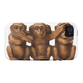 Carving of three wooden monkeys vibe iPhone 4 covers