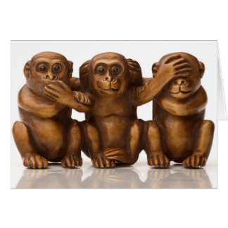 Carving of three wooden monkeys greeting card