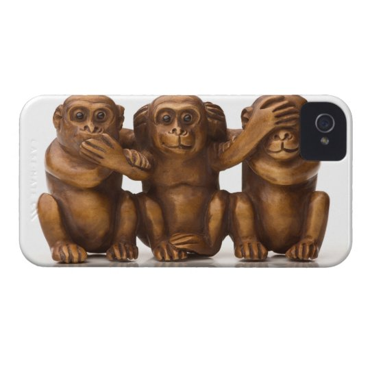 Carving of three wooden monkeys iPhone 4 case