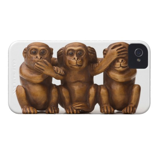 Carving of three wooden monkeys iPhone 4 Case-Mate case