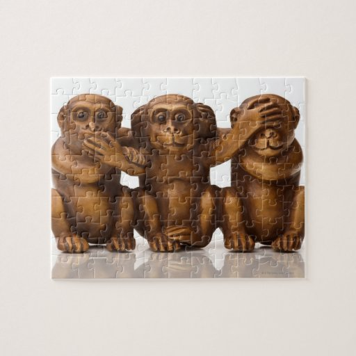 Carving of three wooden monkeys jigsaw puzzle zazzle