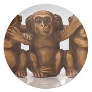 Carving of three wooden monkeys melamine plate