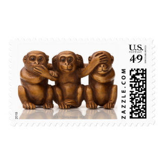 Carving of three wooden monkeys postage stamps