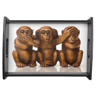 Carving of three wooden monkeys serving tray
