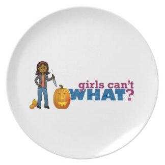 Carving Pumpkin Girl Dinner Plate