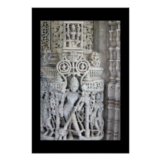 Carvings at Ranakpur Temple Rajasthan India Poster