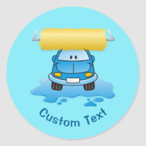 Carwash cartoon classic round sticker