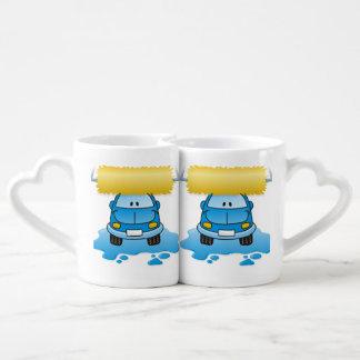 Carwash cartoon coffee mug set