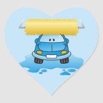 Carwash cartoon heart sticker