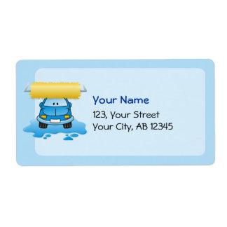 Carwash cartoon personalized shipping labels