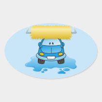 Carwash cartoon oval sticker