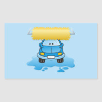 Carwash cartoon rectangular sticker