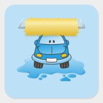 Carwash cartoon square sticker