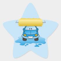 Carwash cartoon star sticker