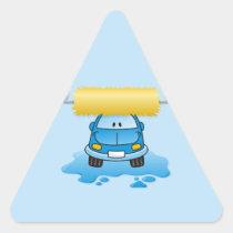 Carwash cartoon triangle sticker