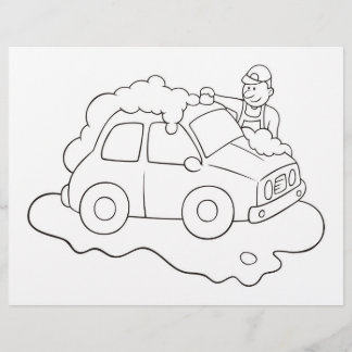 Carwash Man Coloring Book Page