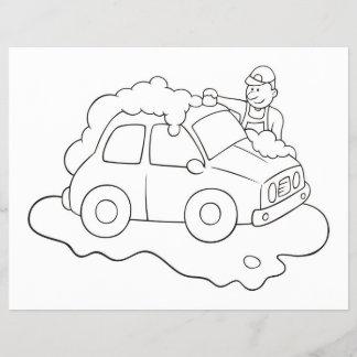 Carwash Man Coloring Book Page