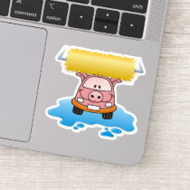 Carwash Pig Cartoon Sticker