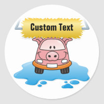 Carwash Pig Classic Round Sticker