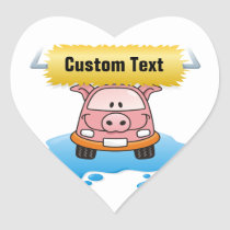 Carwash Pig Heart Sticker