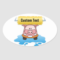 Carwash Pig Oval Sticker
