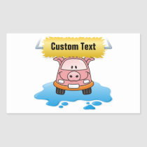 Carwash Pig Rectangular Sticker