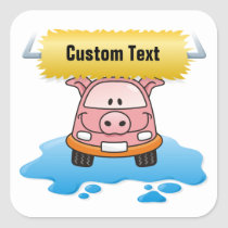 Carwash Pig Square Sticker