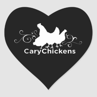 Cary Chickens Heart Sticker