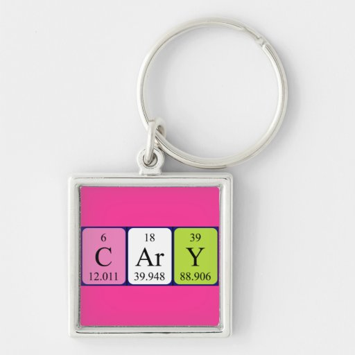 Cary periodic table name keyring Silver-Colored square keychain