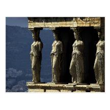 Caryatids, Acroplis, Athens postcard