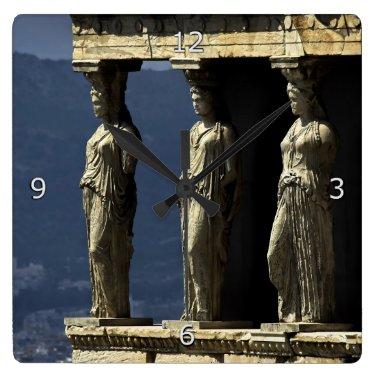 Caryatids, Acroplis, Athens Square Wallclock