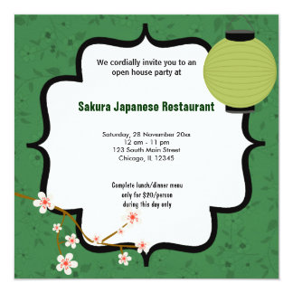 """Casa abierta del sushi invitación 5.25"""" x 5.25"""""""