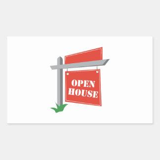 Casa abierta pegatina rectangular
