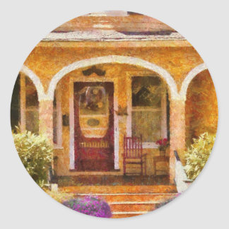 Casa - abuela que visita pegatina redonda