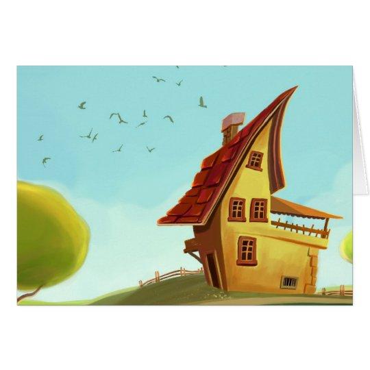 casa amarilla linda del dibujo animado tarjeta de felicitación