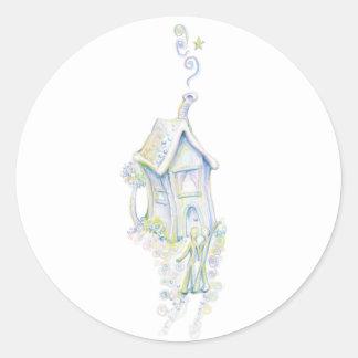 Casa armoniosa pegatina redonda