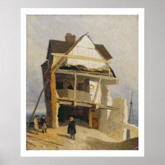 Casa arruinada, c.1807-10 (aceite en el cartón par poster