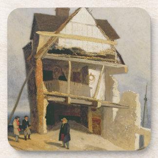 Casa arruinada, c.1807-10 (aceite en el cartón par posavasos de bebida