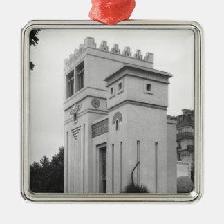 Casa asiria, exposición universal, París Adorno Navideño Cuadrado De Metal