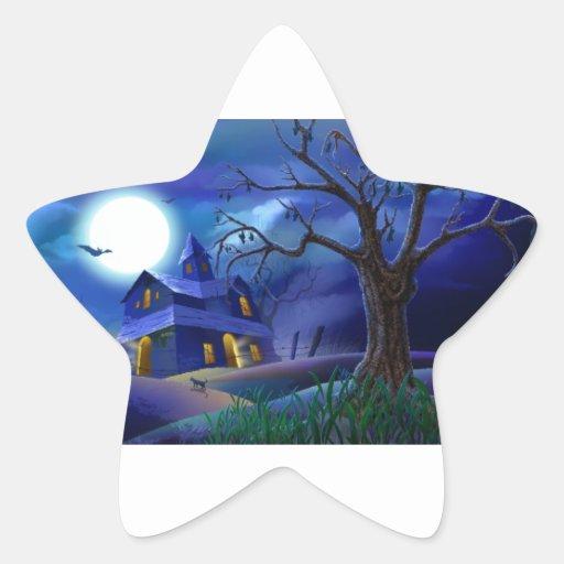 Casa asustadiza pegatina en forma de estrella