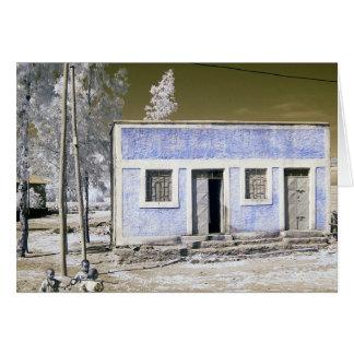 Casa azul tarjeta de felicitación