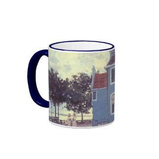 Casa azul Zaandam, Monet, impresionismo del vintag Tazas De Café