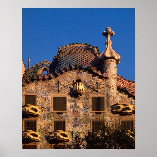 Casa Batilo, Gaudi Architecture, Barcelona, Poster