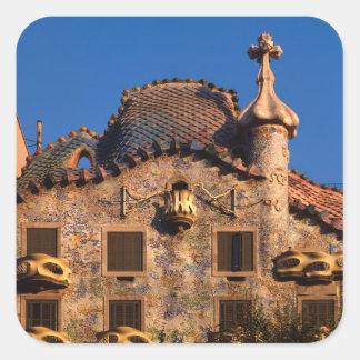 Casa Batilo, Gaudi Architecture, Barcelona, Square Sticker