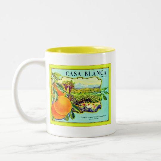 Casa Blanca Brand Oranges ~ Vintage Fruit Crate Two-Tone Coffee Mug