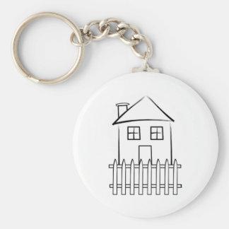Casa blanca de la valla de estacas de la pincelada llaveros personalizados