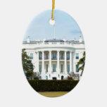 Casa Blanca del césped Adorno Navideño Ovalado De Cerámica