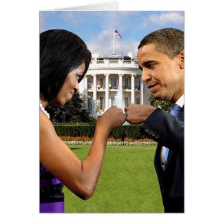 Casa Blanca del topetón del puño de Obama Tarjeta De Felicitación